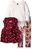Nannette Baby Girls' 3 Piece Curly Faux Fur Vest and Legging Set, Red, 12 Months