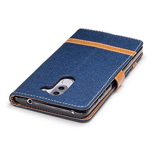 Para Huawei Honor 6X funda, (Vaquero rosa roja) Dril de algodón de colores mezclados caja del teléfono móvil de cuero PU Leather cubierta Función de Soporte Billetera con Tapa para Tarjetas correa de  Vaquero color azul marino