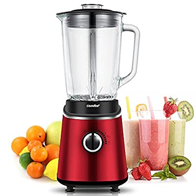 Comfee Professional Smoothie Blender with 3 Preset Programs (Ice crush, Pulse, Smoothie) Variable Speeds Control