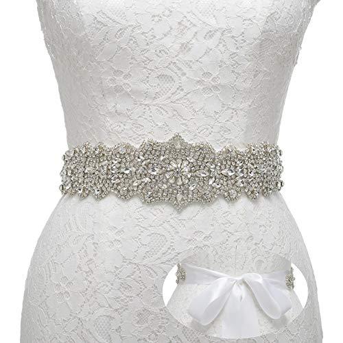Remedios Rhinestone Bridal Belt Crystal Wedding Belt Bridesmaid Sash Women Dress Accessories, White