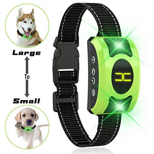 Dog Bark Collar Adjustable Sensitivity and Intensity Levels-Dual Anti-Barking Modes-Rechargeable/Rainproof/Reflective -No Barking Control Dog Shock Collar for Small Medium Large Dog