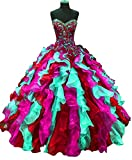 BridalAffair Multicolor Ball Gown Princess Sweetheart Organza Formal Prom Evening Dress