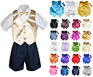 MILLTEX 4 Pieces Set Formal Party Wedding Color Satin Vest & Bow tie Shirt Navy Shorts Set New Born Baby B