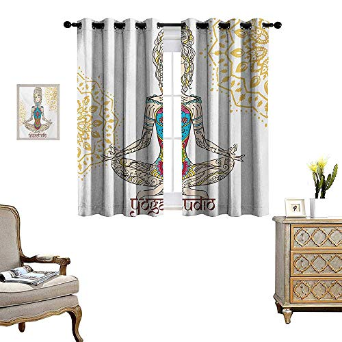 (WinfreyDecor Chakra Thermal Insulating Blackout Curtain Girl in Yoga Position with Ethnic Figures on Her Body Physical Force Belief Pattern Patterned Drape for Glass Door W63 x L63 Multicolor)