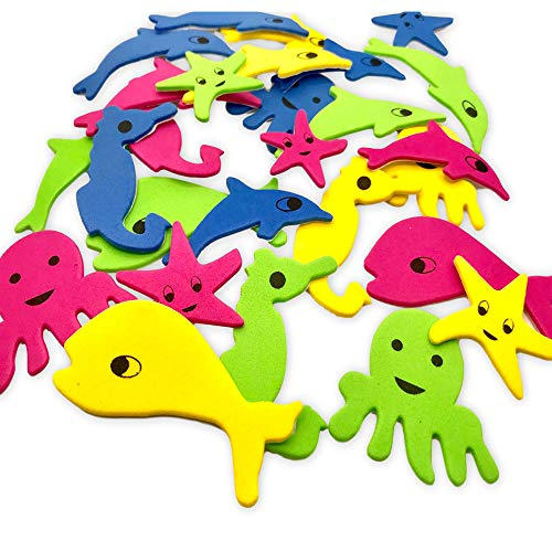 Colorful Assorted Under The Sea Life Adhesive Foam Shapes - Dolphins Whales Starfish and More - for Arts and Crafts or Birthday Decoration - Over 30 Piece Set