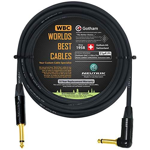 18FOOT-GOTHAM GAC-1ULTRA PRO-PREMIUM LOW-CAP(21PF | F)기타베이스 악기 케이블-NEUTRIK GOLD STRAIGHT TO ANGLED¼INCH(6.35MM)TS 커넥터-세계 최고의 케이블로 맞춤 제작