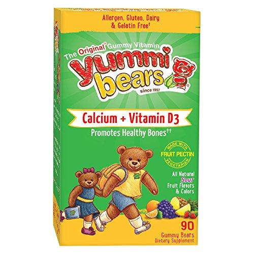Yummi Bears Vegetarian Calcium + Vitamin D3 Supplement for Kids, 90 Gummy Bears