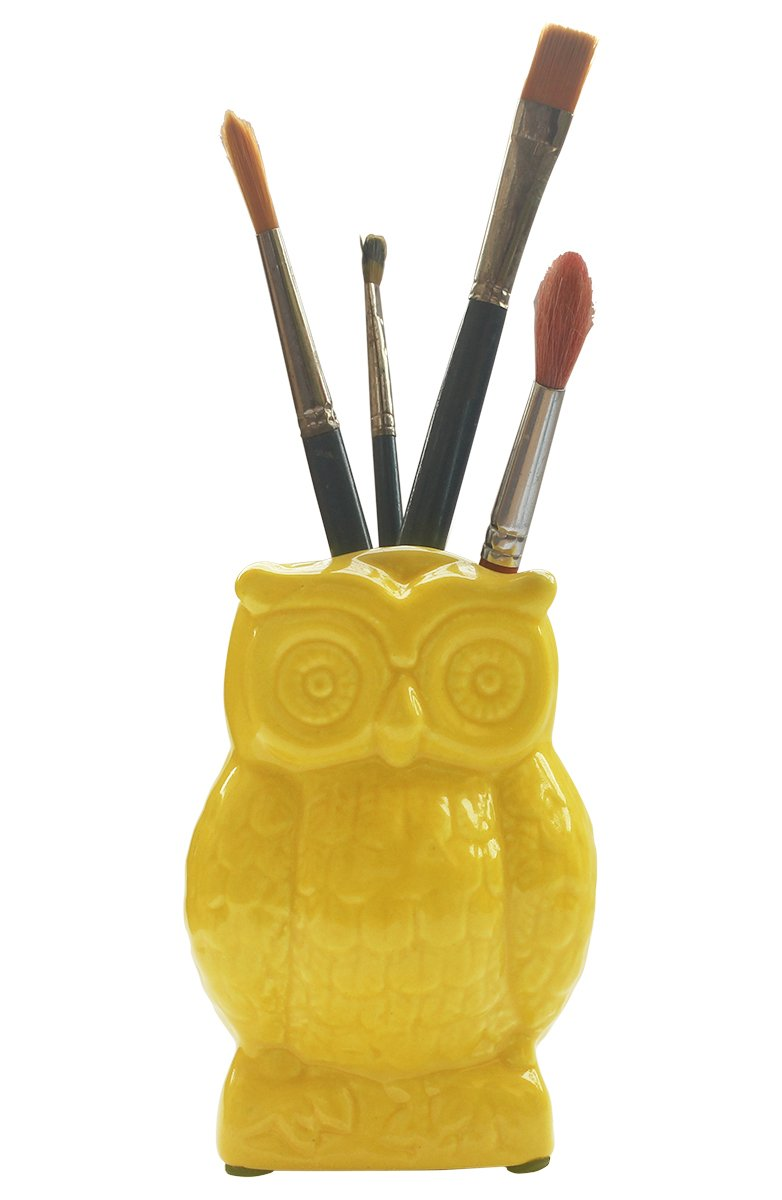 AB Handicrafts BEST DEAL! - Yellow Ceramic Owl Pen Pencil Holder/Cooking Utensil Crock/Multipurpose Storage/Decorative Piece (Yellow)