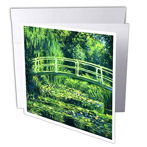 3dRose VintageChest - Masterpieces - Claude Monet - Bridge Over a Pond of Water Lilies - 12 Greeting Cards with envelopes (gc_303316_2) (Bridge Over A Pond Of Water Lilies)