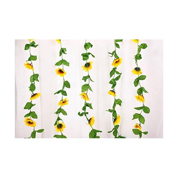 Charmly Pack of 2 Artificial Sunflower Garland Fake Silk Sunflower Vine Home Wedding Party Garden Decor Each Vine 12 Flower Heads Each 8 ft Long