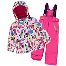 Deux par Deux Girls' 2-Piece Snowsuit Confetti Garden Pink, Sizes 4-14