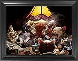 Poker Cats Poster Framed 3D Wall Art – Vintage Classic 3D Lenticular Posters – 14.5x18.5'' – Unbelievable 3D Print – Cool Unique Collectible Art Décor Picture – Holographic Optical Illusion