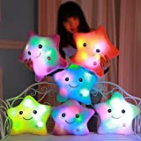 1pcs 38cm led light pillow luminous pillow, toy plush pillow, colorfull stars, kids toy, special gift for kids, girls, friends