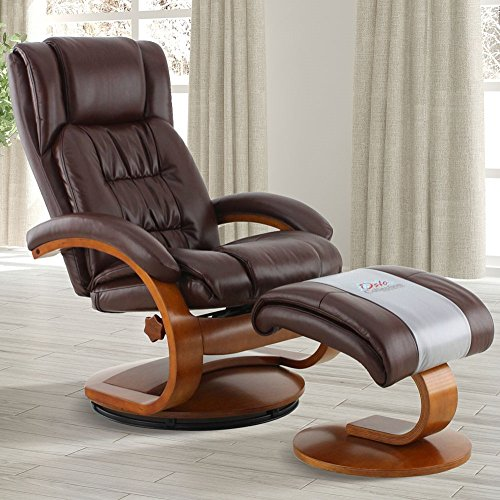 Mac Motion Oslo Collection Narvick Recliner and Ottoman in Whisky Breathable Air Leather