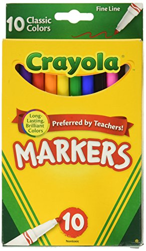 Crayola 58-7726 Classic Fine Line Markers Assorted Colors 10 Count, 2 Pack]()