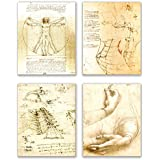 Leonardo da Vinci Art Prints - Set of Four 8x10 Wall Decor Photos - Vitruvian Man Drawing Sketch Renaissance Poster