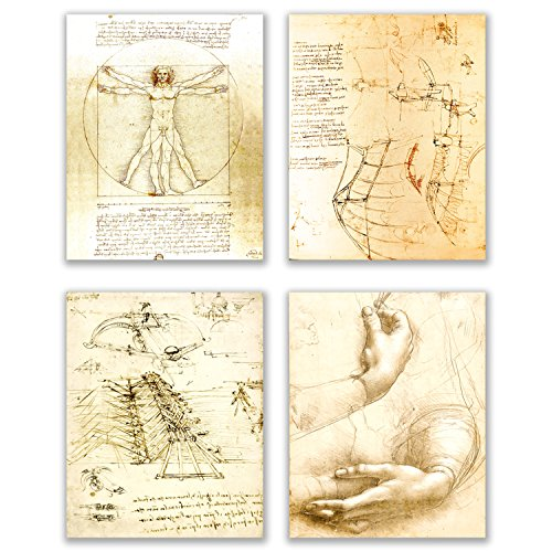 Leonardo da Vinci Art Prints - Set of 4 (8 inches x 10 inches) Wall Decor Photos - Vitruvian Man Drawing Sketch Renaissance Poster