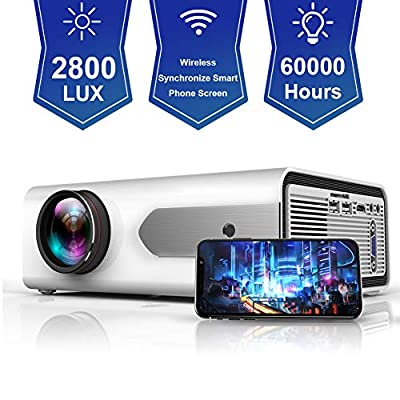 "HOLLYWTOP HD Mini Portable Projector 2800 Lux WiFi Wireless Synchronize Smart Phone Screen,1080P Supported 180"" Display, Multimedia Connections, Compatible with Laptop/PS4/Fire TV Stick/Computer/DVD"