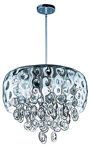 Maxim 21475WGPN Ripple 10-Light Pendant, Polished Nickel Finish, Water Glass Glass, G9 Xenon Xenon Bulb , 100W Max., Wet Safety Rating, Standard Dimmable, Glass Shade Material, 1150 Rated - New Optical York European