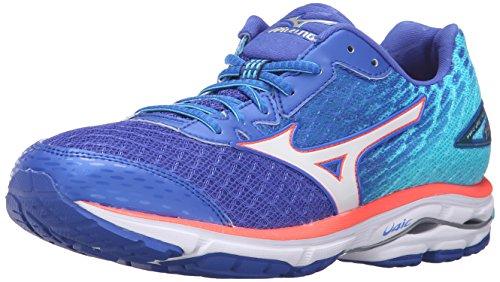 Mizuno Women's Wave Rider 19 Running Shoe, Dazzling Blue/White, 6 B US