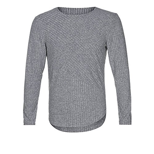 iLXHD Men's Slim Fit O Neck Long Sleeve Muscle Tee T-Shirt Casual Tops Blouse(Gray ,L)