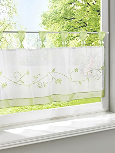LivebyCare Floral Embroidered Window Curtain Tier and Valance Tab Top Rod Pocket Semi Sheer Window Treatment Voile Drape Drapery Panels for Living Room Decor Decorative