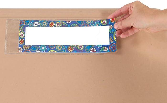 "Really Good Stuff Nameplate Self-Adhesive Sleeve Protectors – Vinyl – 12 Pack – 9-7/8"" by 3-3/8"