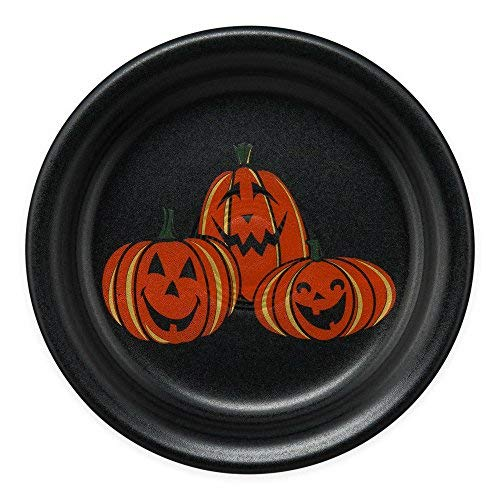 Fiesta Halloween Trio of Happy Pumpkins Appetizer Plate in Black -