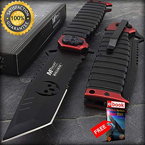 9.5'' MTECH USA TANTO SKULL RED SAWBACK SPRING ASSISTED FOLDING KNIFE Zombie Combat Tactical Knife + eBOOK by Moon Knives]()