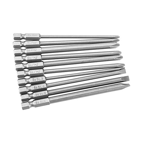 (10pcs Phillips And Flat Head Screwdriver Bits Set S2 Steel Magnetic Hex Shank PH1 PH2 Slot Screwdriver Bits Set 1/4inch 100mm)
