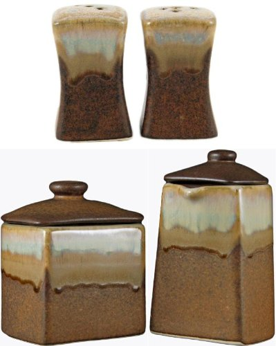 (PADILLA & PRADO STONEWARE COLLECTION - Square Collectible & Functional - Salt & Pepper Shaker and Creamer & Sugar Receptacle Sets - Rustic Brown)