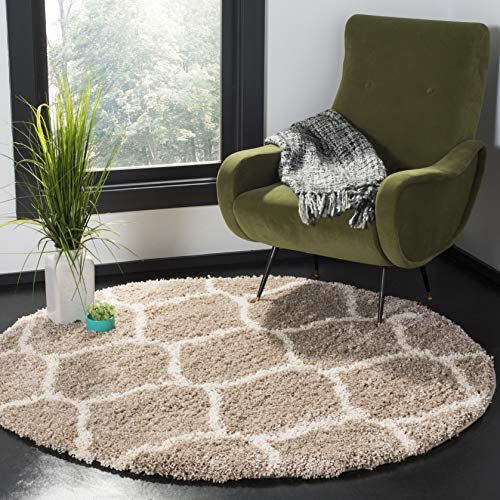 Safavieh Hudson Shag Collection SGH280S Beige and Ivory Moroccan Ogee Plush Round Area Rug (7' Round)