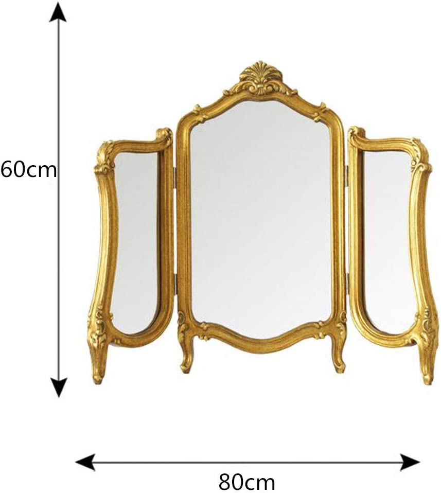 Z Jingzi Rustic Tri Fold Vanity Mirror With Legs Wood Carved Framed Antique Gold Tabletop Cosmetic Makeup Mirror For Dressing Room Or Bedroom Decor 23 31 Inch Home Kitchen