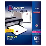 Avery Print-On Dividers, 5-Tab, 3-Hole Punched, 8-1/2 x 11 Inches, White, 5 Sets per Pack (11515)