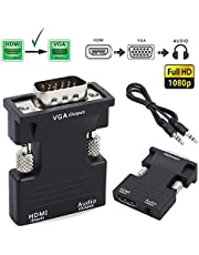 HDTV HDMI Female to VGA Male Adapter Cable 1080P Stereo Audio Output Connector Cable (Black, OneSize)