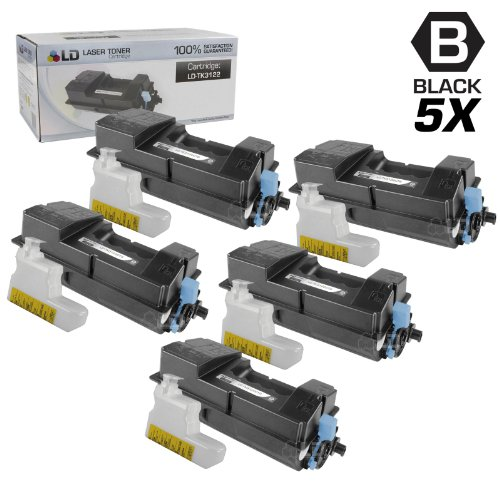 LD © Set of 5 Compatible Kyocera-Mita Black TK-3122 / 1T02L10US0 Laser Toner Cartridges for use in FS-4200DN Printers
