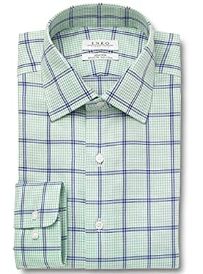 Enro Men's Big and Tall Alford Plaid Spread Collar Dress Shirt   Green