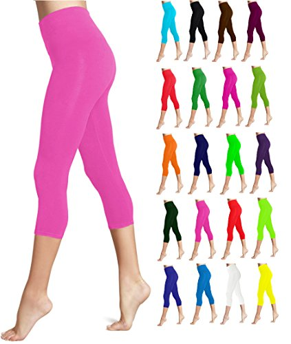 Lush Moda Seamless Capri Length Basic Cropped Leggings - Variety of Colors - Neon Pink OS