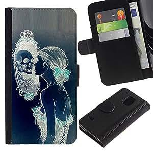 LASTONE PHONE CASE / Lujo Billetera de Cuero Caso del tirón Titular de la tarjeta Flip Carcasa Funda para Samsung Galaxy S5 V SM-G900 / Woman Mirror Deep Meaning Beauty