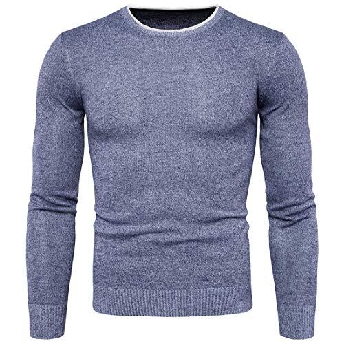 Pour Unie Taille Hommes À Col Couleur Tricotés Yisaesa Bleu couleur Pulls Violet Longues Manches Metro Rond 1Fq8Onz4xw