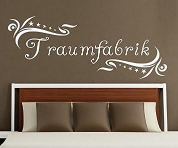 Wandtattoo Traumfabrik Spruch Traum Aufkleber Schlafzimmer Kinderzimmer  1D179, Farbe:Braun Matt;Motiv Länge