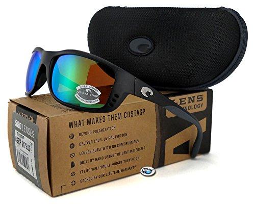 Costa Del Mar Zane Sunglasses, Matte Black / Green Mirror - Zane Costa Sunglasses