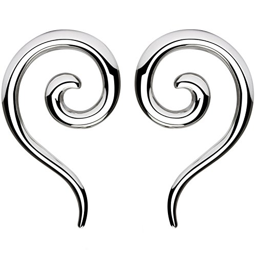 - BYB Plugs Pair of Stainless Steel Spiral and Tail Ear Tapers (10 Gauge (2.5mm))