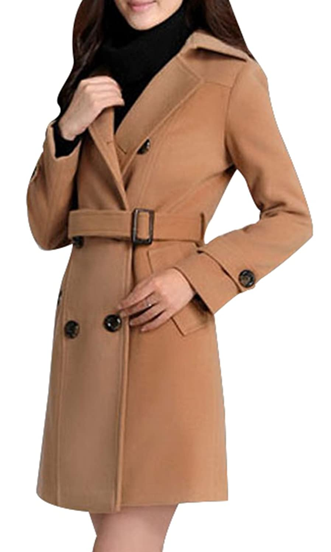 Yasong Damen Doppelreihiger Slim Fit Faux Wool Coat Trench Coat, Peacoat, U-Boot Coat Outerwear mit Gürtel