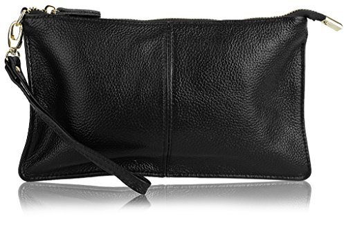 YALUXE Women's Real Leather Large Wristlet Phone Clutch Wallet with Shoulder Chain Black Black Leather Clutch Wallet