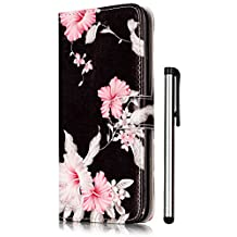 iPhone SE Case,iPhone 5S Case,iPhone 5 Case Wallet PU Leather Magnetic Flip Cover 2 Credit Card Slots Holders with Desk Stand - Fashion Black Azalea Pattern