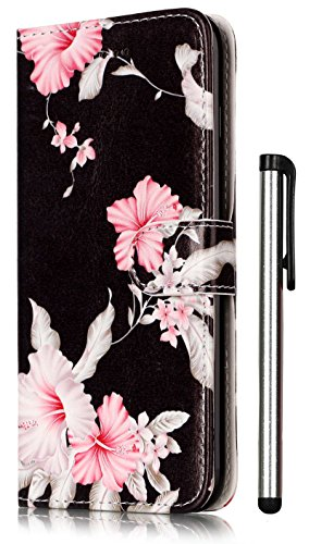 (For iPhone 8 Plus Case,iPhone 7 Plus Case 5.5 inch Wallet PU Leather Magnetic Flip Cover 2 Credit Card Slots Holders with Desk Stand - Fashion Black Azalea Pattern (Not Fit 4.7inch 7/7S))