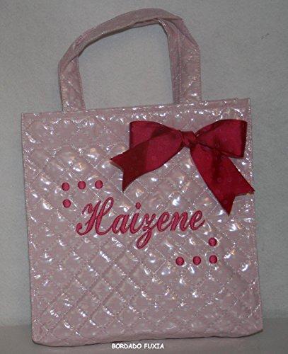 PRIMERAEDAD/Bolsa merienda piqué plastificado en color rosa con topos blancos, personalizada con nombre