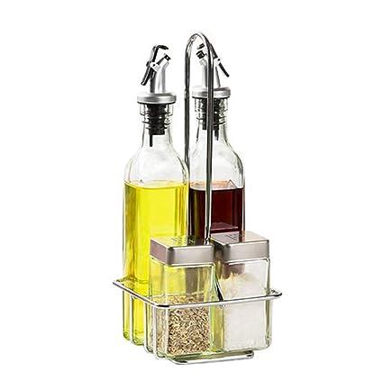 GLMAMK Frascos de Cristal de la Botella de Control, latas de Sal y Pimienta de
