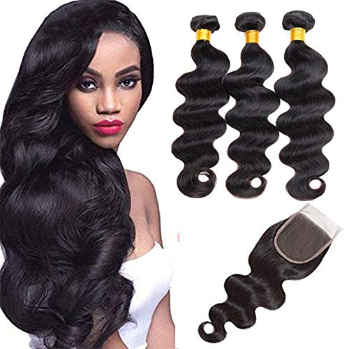 (Bex Body Wave Hair Bundles 10 12 14 with 8 inch Closure - 100% Unprocessed Brazilian Human Hair Weave 10a Grade Body Wave Bundles with Closure-Natural Black Color (10 12 14 + 8))
